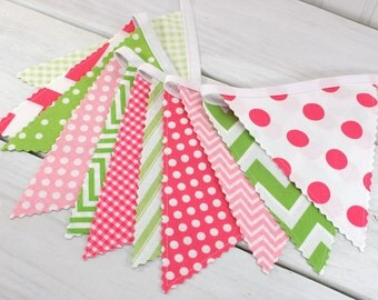 Bunting Banner, Fabric Flags, Girl Nursery Decor, Photography Prop, Home Decor - Pink, Lime Green, Baby Pink, Chevron, Dots