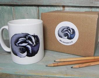 Badger Cuddle Illustration Mug