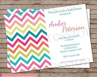Colorful Chevron Bridal Shower Invitation
