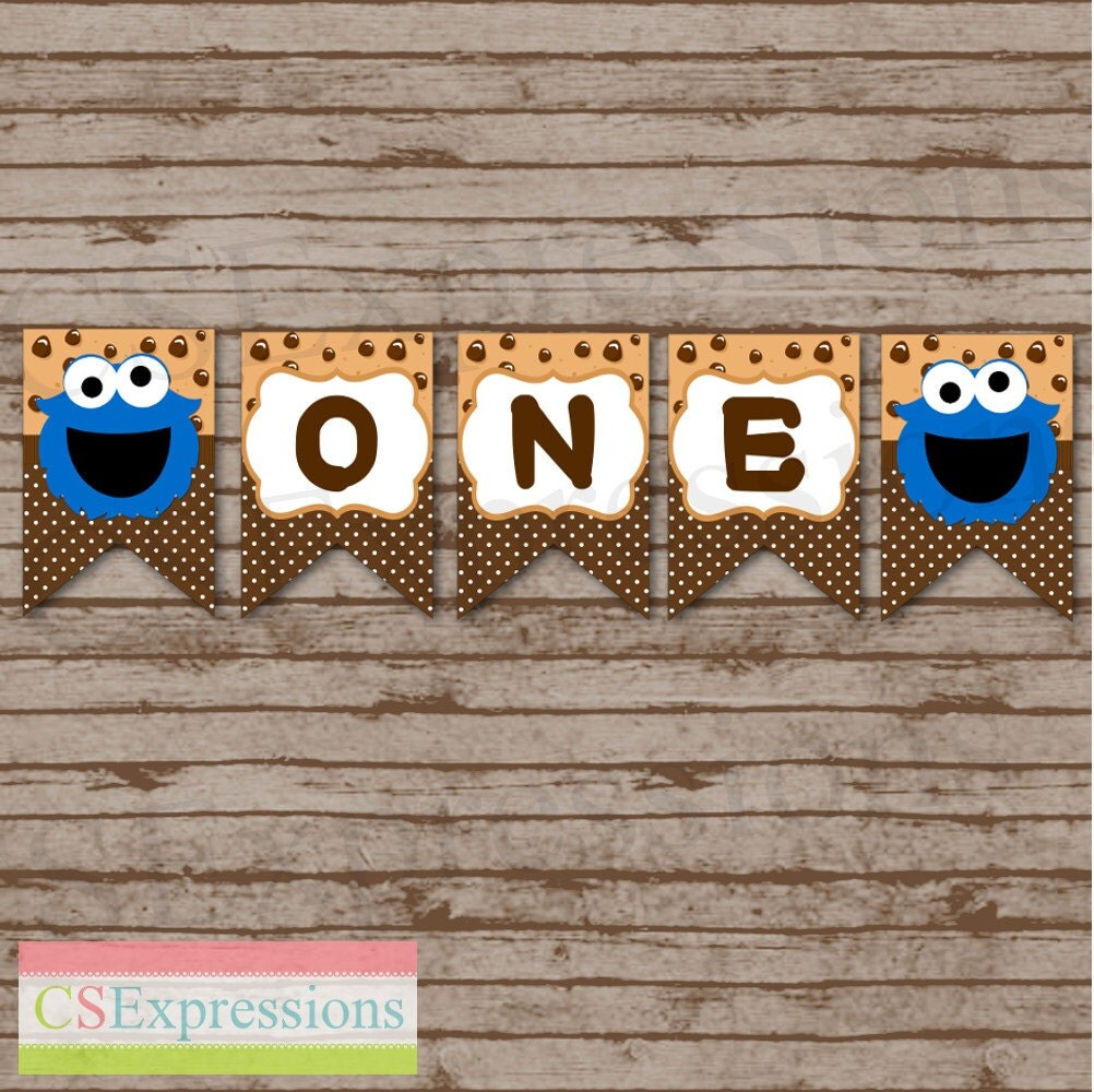 Cookie Monster First Birthday High Chair Banner By