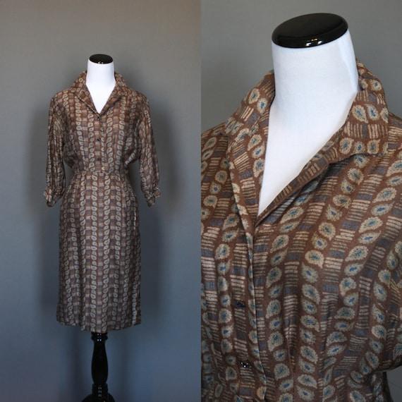 SALE Vintage 50s Dress 1950s Day Dress Shift Brown Atmoic Print Green Blue 3/4 Sleeve Medium