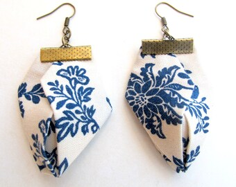 Floral fabric earrings, Blue on white English fiber earrings, Origami handmade earrings, Geometric statement earrings, unique gift for her