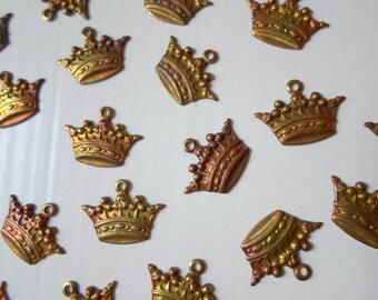 Oxidized Brass Crown Charms 14mm (6)