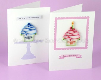 Cupcake Birthday Card - Quilling Patterns PDF Tutorial