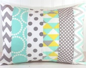 Pillow Cover, Nursery Pillow Cover, Patchwork Pillow, Gender Neutral Nursery Decor, 12 x 16 Inches, Mint Green, Gray, Grey, Yellow Chevron
