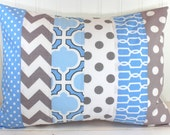 Pillow Cover, Boy Nursery Decor, Throw Pillow, 12 x 16 Inches, Nursery Pillow Cover, Baby Blue, Powder Blue and Gray, Grey Chevron Dots