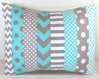 Pillow Cover, Unisex Nursery Decor, Boy or Girl Room, Throw Pillow, 12 x 16 Inches, Nursery Pillow Cover, Gray, Aqua Blue, Chevron, Gingham
