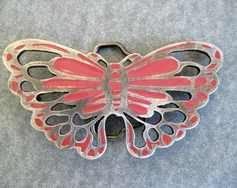 Pink Butterfly Buckle, 80's Chunky Silver Cutout Belt Buckle