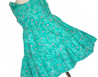 Lotis Blossom Floral Print Two Tiered Twirly Sundress with Tie Shoulders.  OOAK Size 5