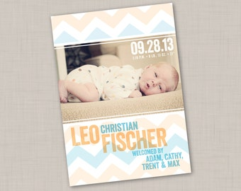 Wide Chevron Birth Announcement (PRINT YOUR OWN) for boy or girl