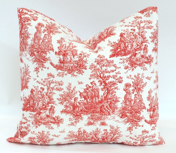 holiday toile decorative throw pillows red jamestown accent. Black Bedroom Furniture Sets. Home Design Ideas