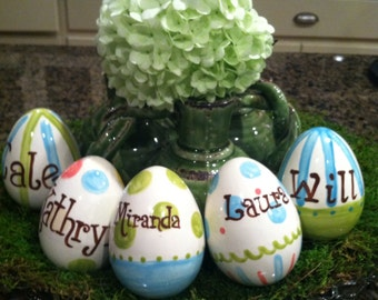 Personalized Ceramic Easter Eggs in Your Color Choice With Name or Monogram