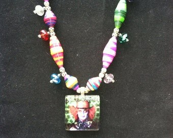 Johnny Depp Mad Hatter crazy colored hand painted & hand rolled beads
