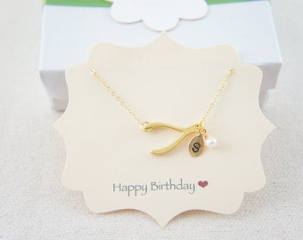 Personalized Gold Vermeil wishbone necklace with pearl, good luck, make a wish, gift, layered necklace