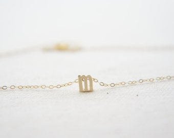 """Gold Letter, Alphabet, Initial  """"m"""" necklace, birthday gift, lucky charm, layered necklace, trendy"""
