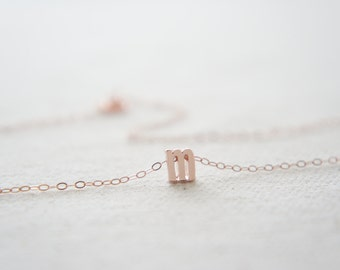 """Rose Gold Letter, Alphabet, Initial  """"m"""" necklace, birthday gift, lucky charm, layered necklace"""