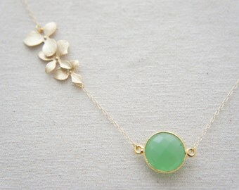Gold orchid flower necklace with coin shape green chalcedony, personalized leaf on the back, bezel gem, bridesmaids, wedding, bridal gift