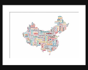 China Map Typography Color Map Poster Print Text Map