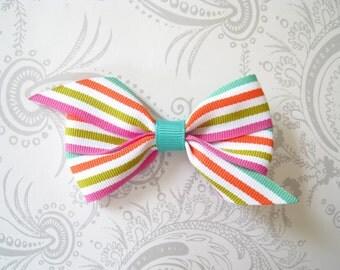 Hair Bow Clip -- Pinwheel Bow -- Rainbow -- Green Pink Orange