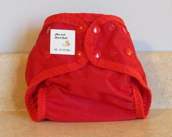 Medium PUL Diaper Cover with Leg Gussets- 10 to 20 pounds- Red- 22007