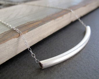Minimalist Bar Necklace, Modern Silver Pendant, Sterling Silver Chain Tube Necklace - RAISE THE BAR