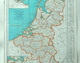 vintage 1941 map of Netherlands, Belgium - gorgeous colors - double sided France