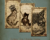 Curious Vintage Cats Collage Sheet Sepia Instant Download