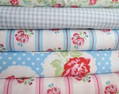 Tanya Whelan Fabric  Pink  Roses Quilt Kit Pre Cut Squares includes  fabric for binding and backing everything is cut for you Fabric
