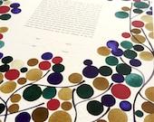 Custom Modern Ketubah art Print - Branches with Love Birds