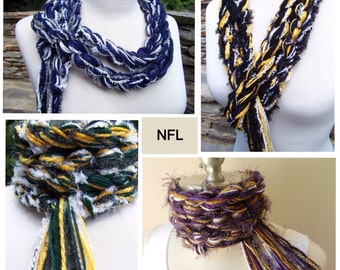 NFL Team Scarf - Pippy Crochet Scarf - Available in all NFL TEAM Colors