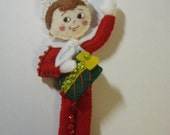 Bucilla Felt ELF WITH PRESENT from the Elf On The Self  Collection