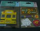 BACK 2 SCHOOL BUS Jolee's Boutique Scrapbooking Supplies stickers - A plus, crayons, Apple, homework