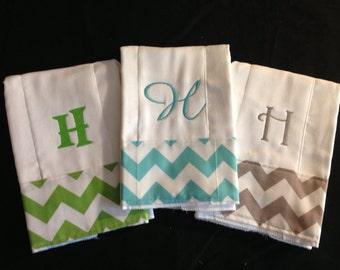 Chevron Set of 3 Personalized Monogrammed Burp Cloths Burpies Burp Clothes