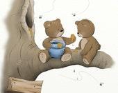 Blue Boys Nursery Wall Art Print Teddy Bear Decor, Childrens Illustration, 8 x 10 Kids Room Art (263)