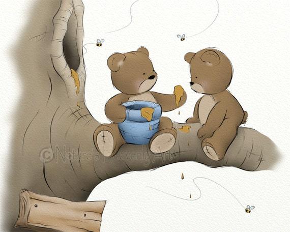 Blue Boys Nursery Wall Art Print Teddy Bear Decor Childrens