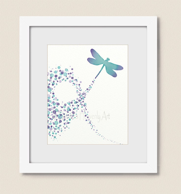 Dragonfly Nursery Wall Decor : Circle nursery wall art dragonfly print aqua purple