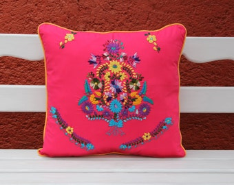 Fuchsia and Multi colored Puebla Collection  Sham created from huipil kaftans