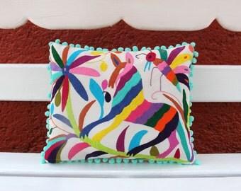 Multi Colored Pom Pom Authentic Otomi Folk Art Pillow Sham