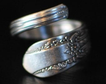 Coil Silver Spoon Ring, Vintage Original Rogers Silverplate Reflection Design, Custom Stamping or Engraving Available