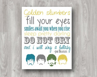 Golden Slumbers Printable Subway/Typography Beatles Art - INSTANT DOWNLOAD