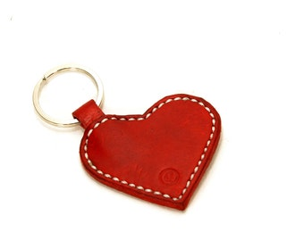 Personalized Heart Keychain, Leather Heart Keyring, Woman's Key chain, Custom Leather Keychain, Handmade Keychain