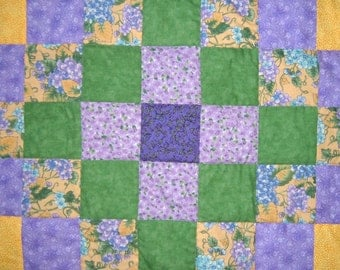 Girl Quilt in Springtime Colors of Purple, Green, and Yellow Flowers Baby Blanket