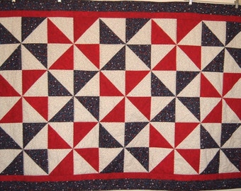 Blue and Red Pinwheels Quilt with Red and Blue Stars for Boys or Girls