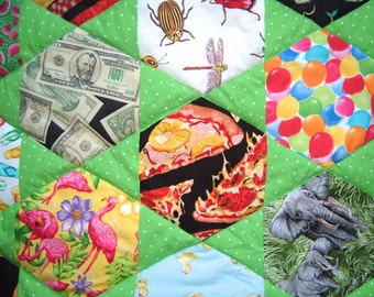 I Spy Quilt  for Boys or Girls in  Bright Green