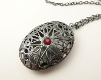 Vampire Locket Victorian Dark Gothic Blood Red Dark Silver Gunmetal Filigree Vampire Necklace