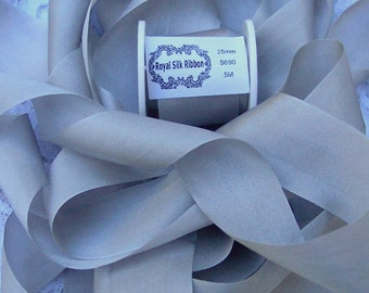 Pure Silk Ribbon Silver/Mist Color 1 inch wide 5 yard Spool