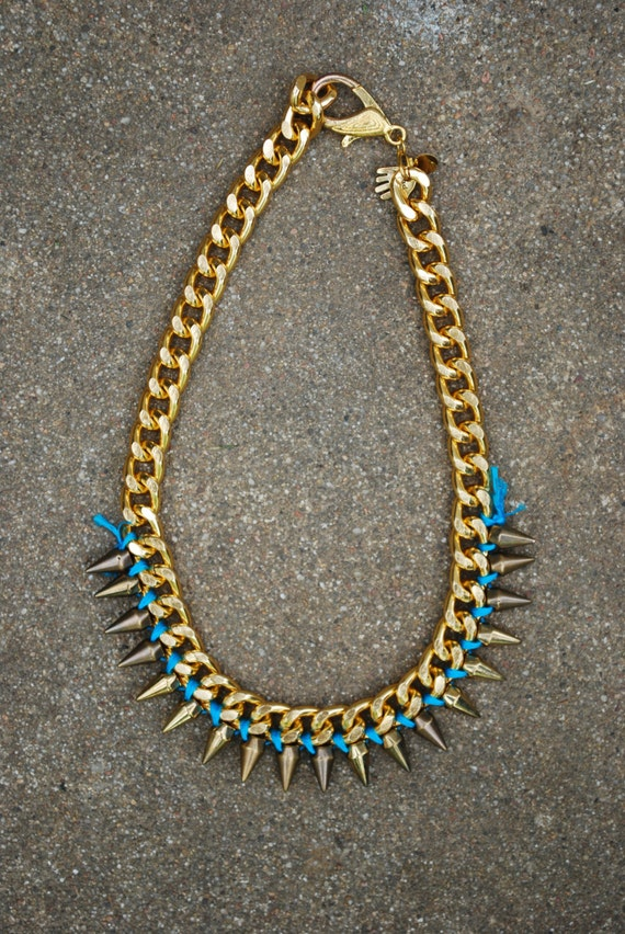 Gold Spike Necklace - Blue