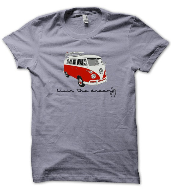 Items similar to volkswagen van t shirt w surfboard on etsy for Vw t shirts men