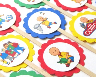 Caillou Cupcake Toppers . Caillou Birthday Toppers . Caillou Birthday Party . Caillou Decorations . Set of 12