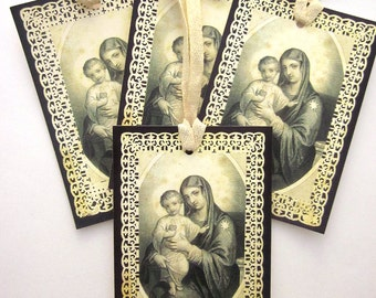 Religious Gift Tag Holiday Gift Tag Mary and Jesus Paper Ornament